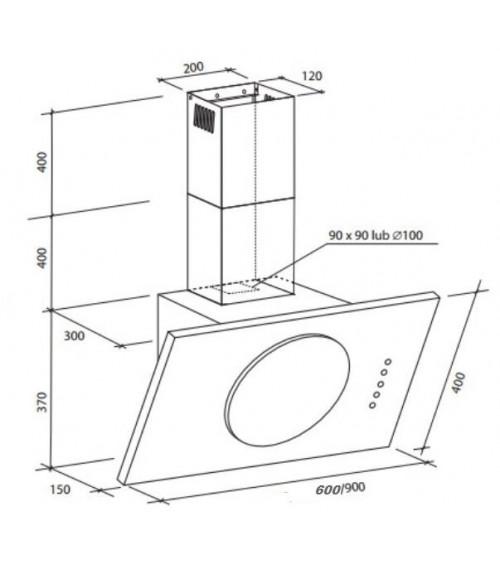 wall-mount hood, SOLAR BLACK 60 ou 90cm