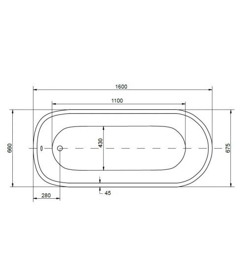 PALAO freestanding tub, 160*68 cm