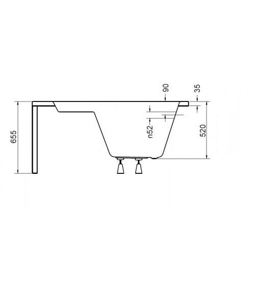 Baignoire d'angle VENEZIA 148x148 cm avec tablier