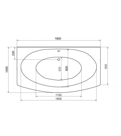 Baignoire GENOVA, avec tablier 160 x 75 et 180 x 85