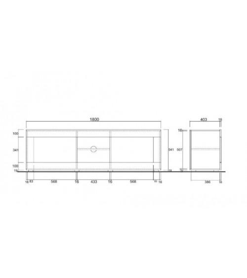 Meuble TV BASIC, 181 cm, blanc