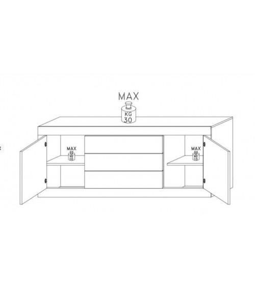 Buffet BASIC 210cm blanc / anthracite