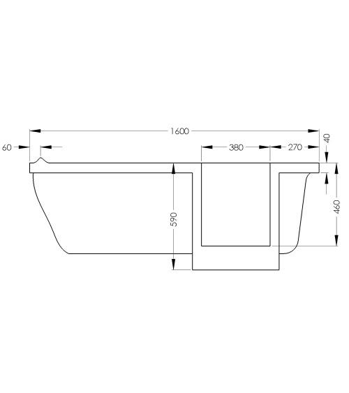 Baignoire à porte EULALIE 140/150/160 x76x60 cm