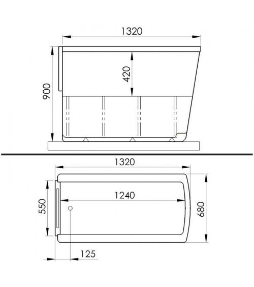 Baignoire à porte ROSALIE 130x68x90 cm
