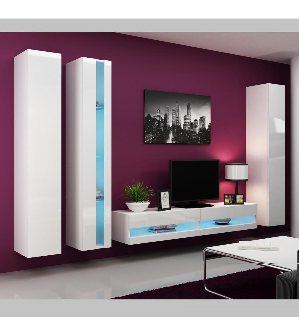 Meuble tv oslo blanc s jour meuble tv for Meuble blanc sejour