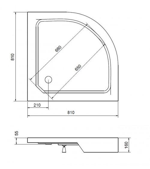 FLATIK shower tray 70/80/90x4cm