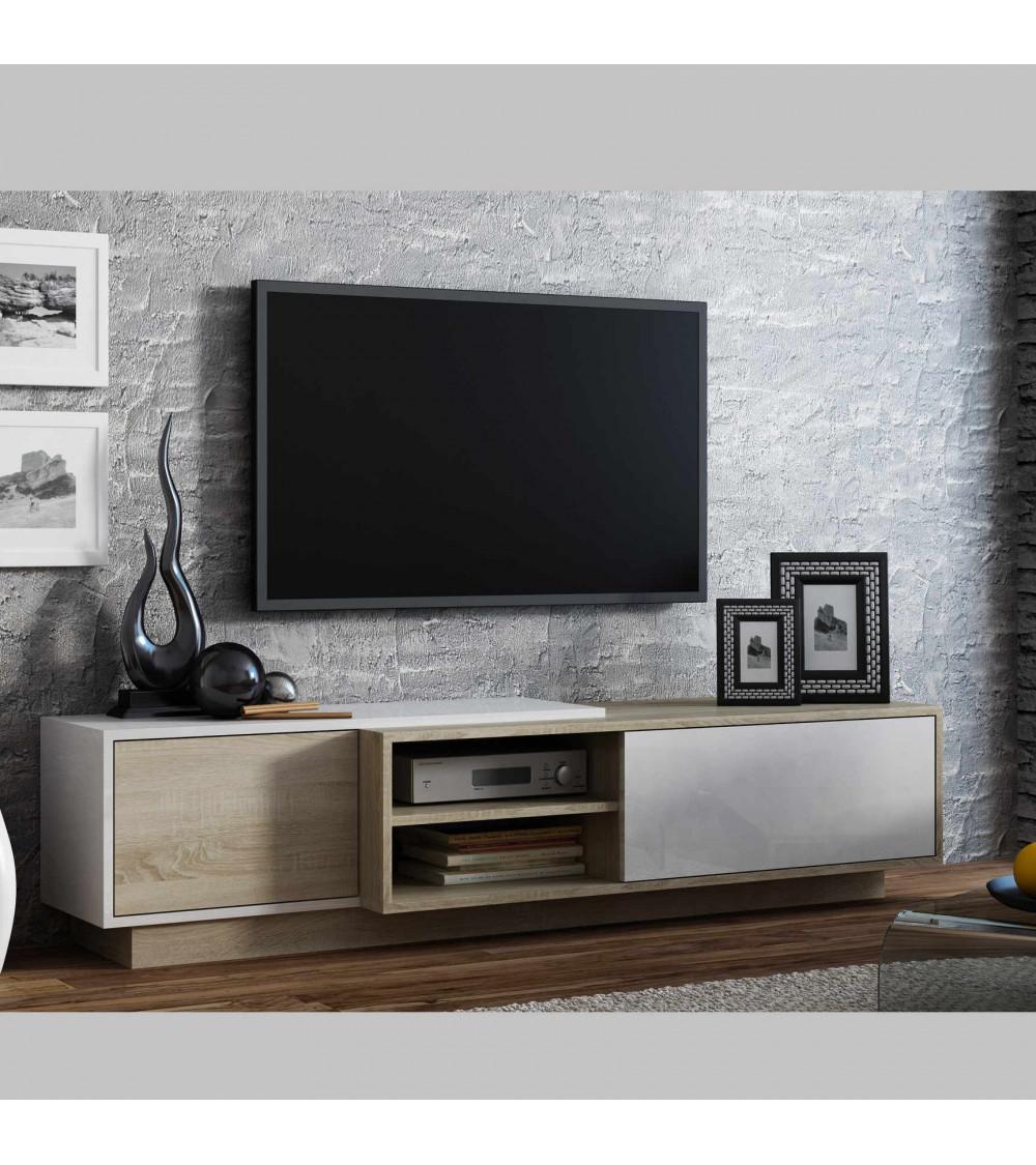 Meuble TV SIGMA Nature , chene et blanc