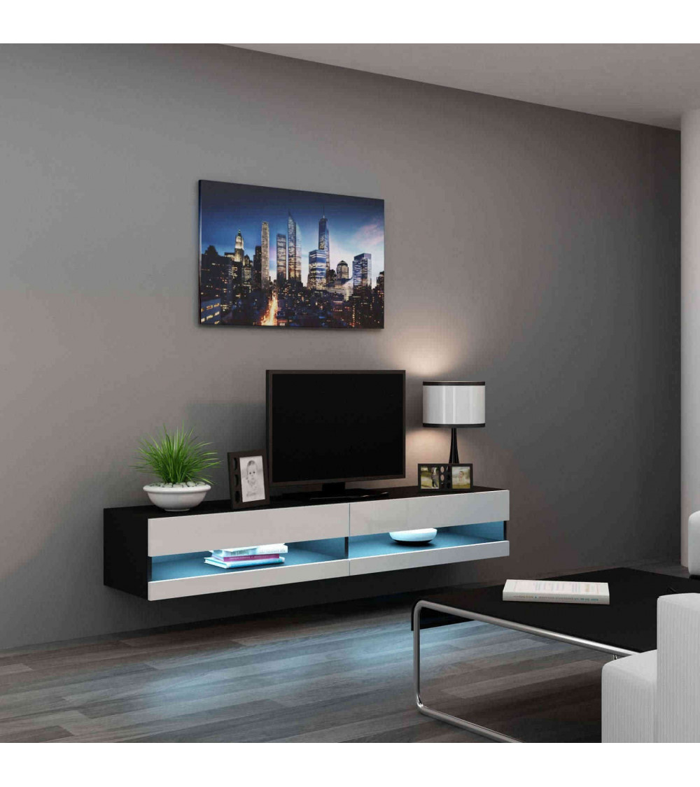 meuble tv vigo 180 noir et blanc. Black Bedroom Furniture Sets. Home Design Ideas