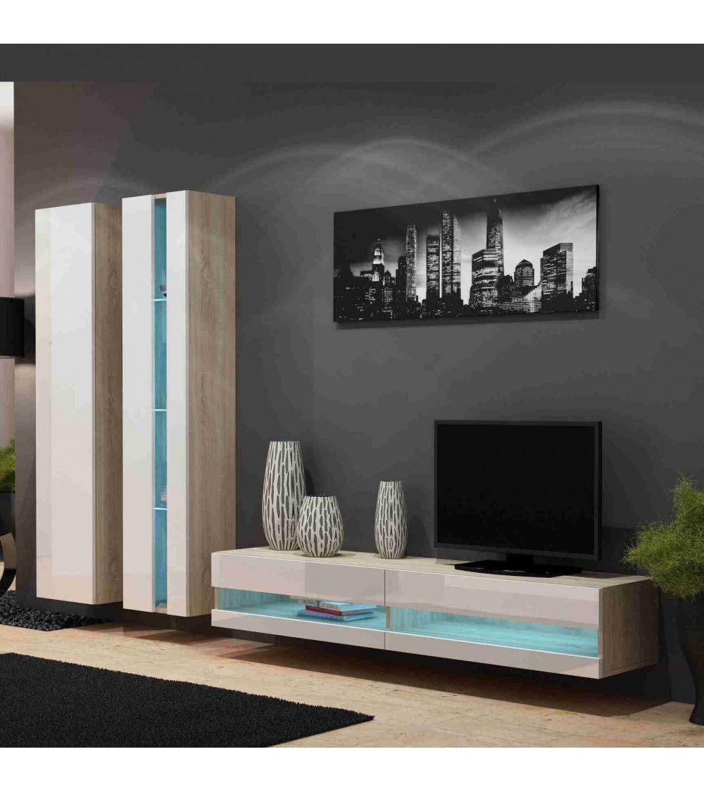 Ensemble TV CHELSEA chêne blanc