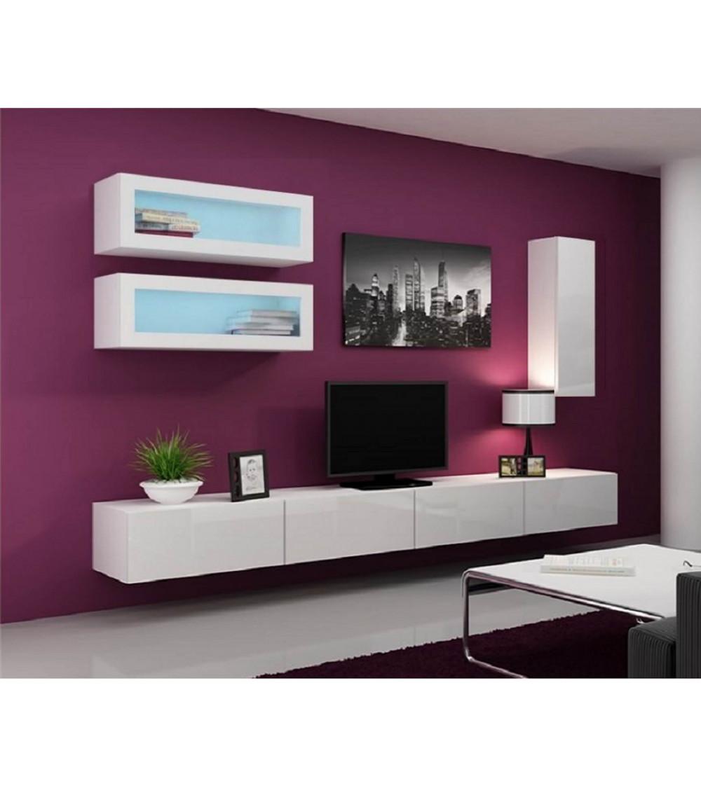 Meuble tv vigo trend 280 blanc s jour meuble tv for Meuble bas suspendu salon