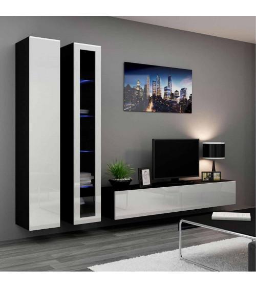 Meuble TV VIGO 3  noir et blanc