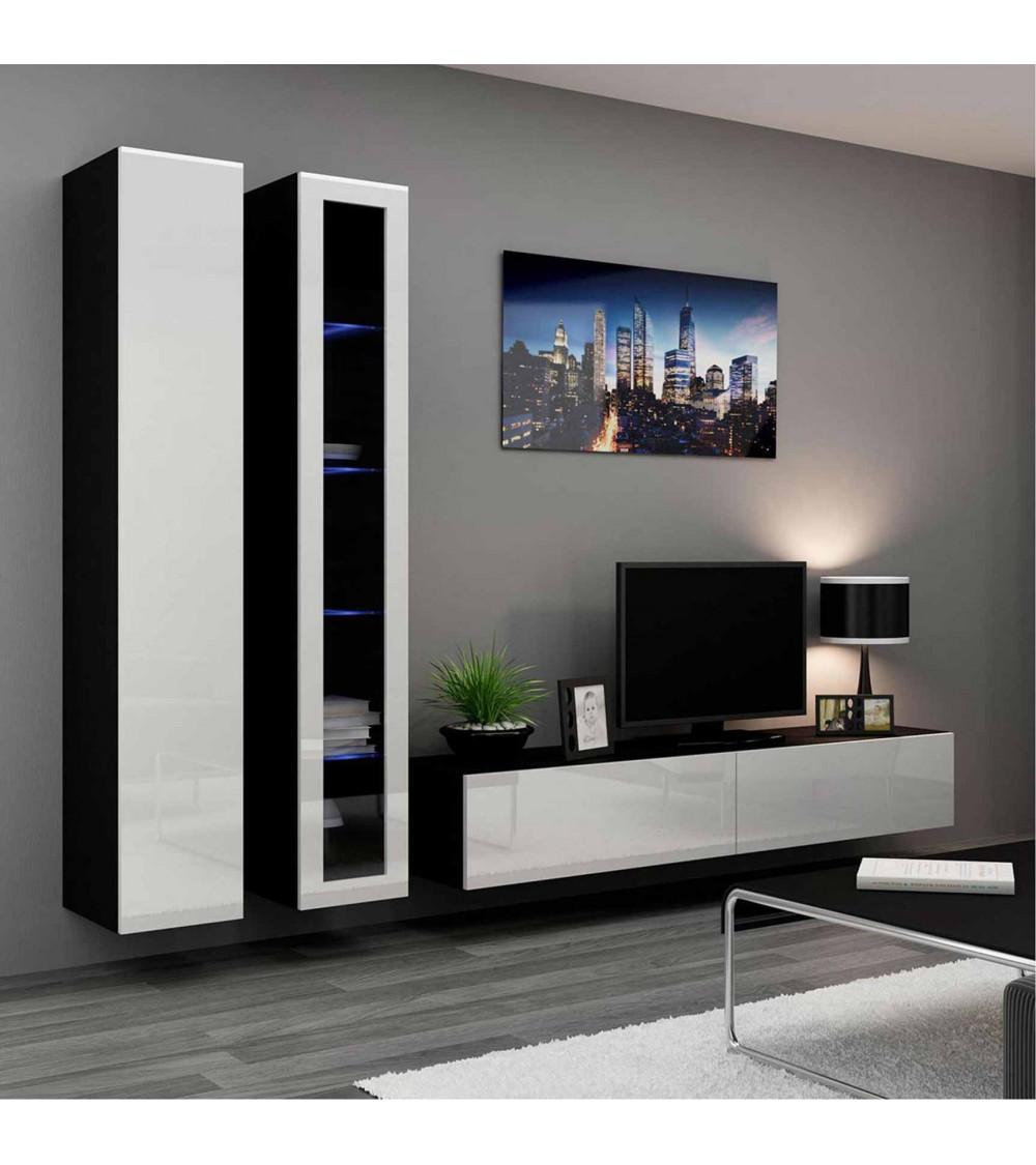 Meuble tv vigo 3 blanc et noir s jour meuble tv for Meuble suspendu sejour