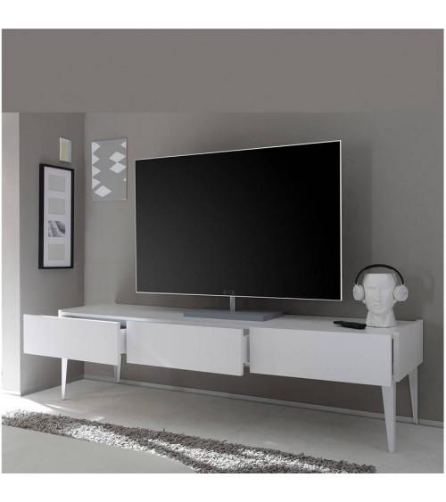 meuble tv rex blanc 184cm ch ne gris meuble tv design boutique demeuble design. Black Bedroom Furniture Sets. Home Design Ideas