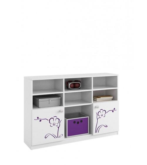 ORCHID VIOLET Bookcase low, 135 cm