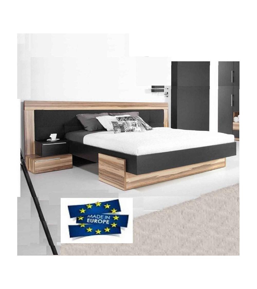 BED MERANO black 160cm + 2 bedside