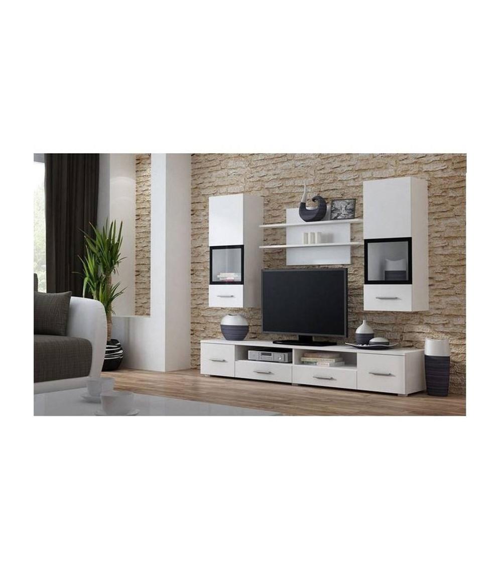Ensemble meuble tv snow blanc d coration s jour for Ensemble meuble sejour