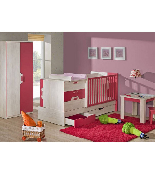 Baby cot bed 5 in 1 NUKI pink