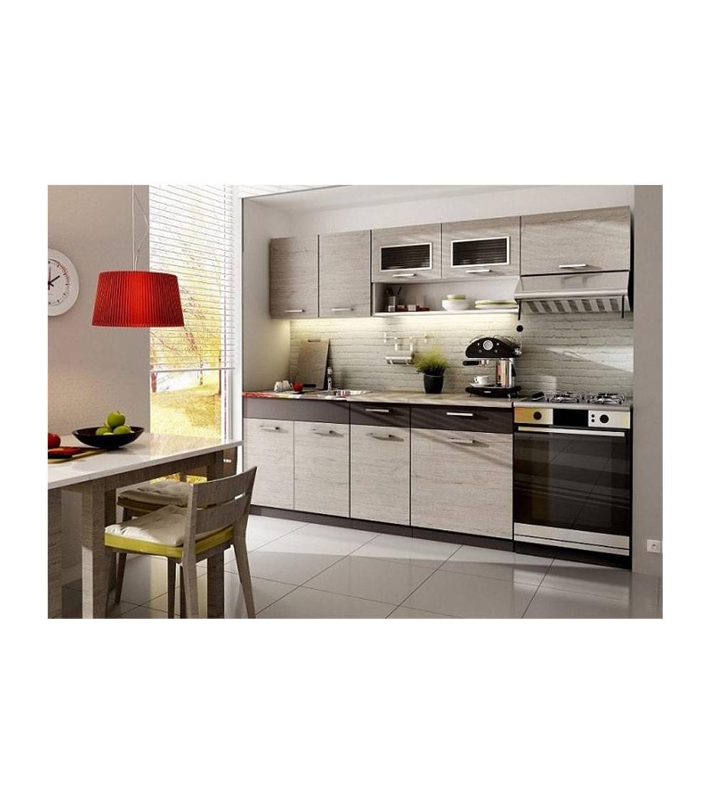 Conjunto muebles de cocina con fregadero MORENO abedul 180/240 cm
