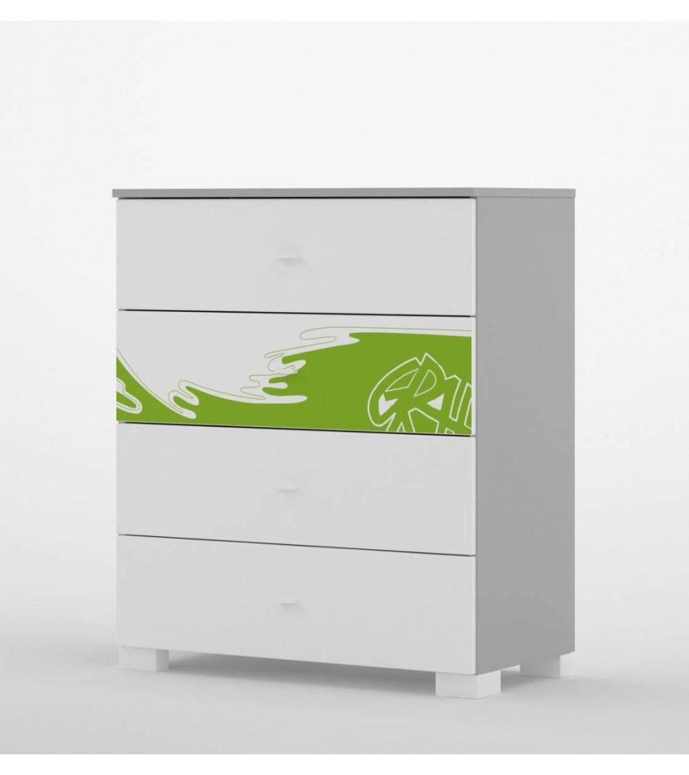 Commode GRAFFITI ART, 90 cm, 4 tiroirs