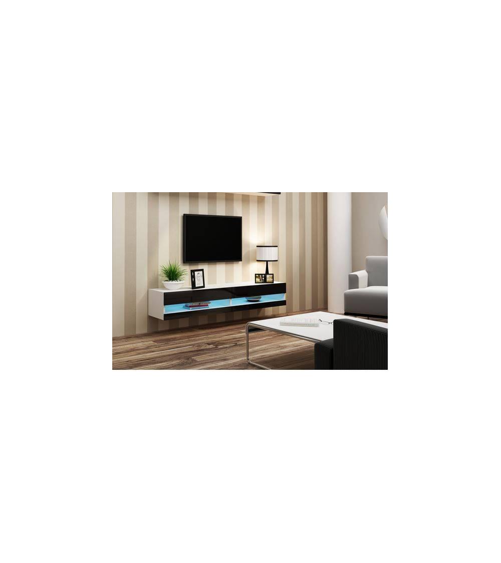 Meuble TV VIGO 180,  blanc et noir