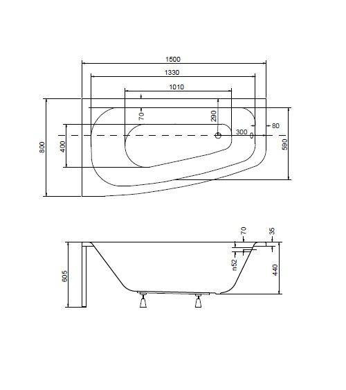 Baignoire d'angle LUNA 150 cm avec tablier