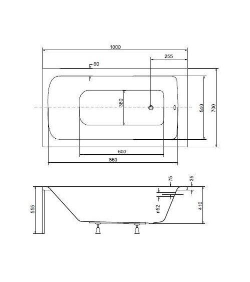 Baignoire VENETO MINI avec tablier 100/110/120/130cm x 70