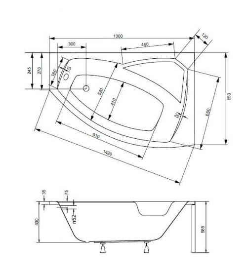 Baignoire d'angle droite RIMA 130/140/150/160/170 cm avec tablier
