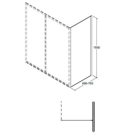 Baignoire SLIDE 150 cm avec pare baignoire réversible