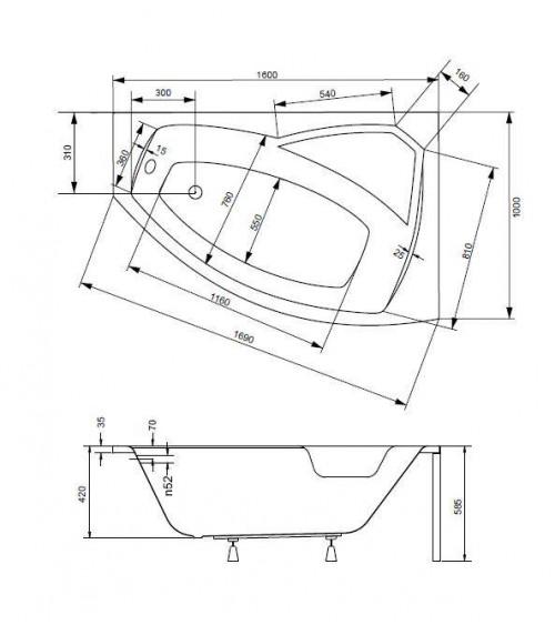 Baignoire d'angle gauche RIMA 130/140/150/160/170 cm avec tablier
