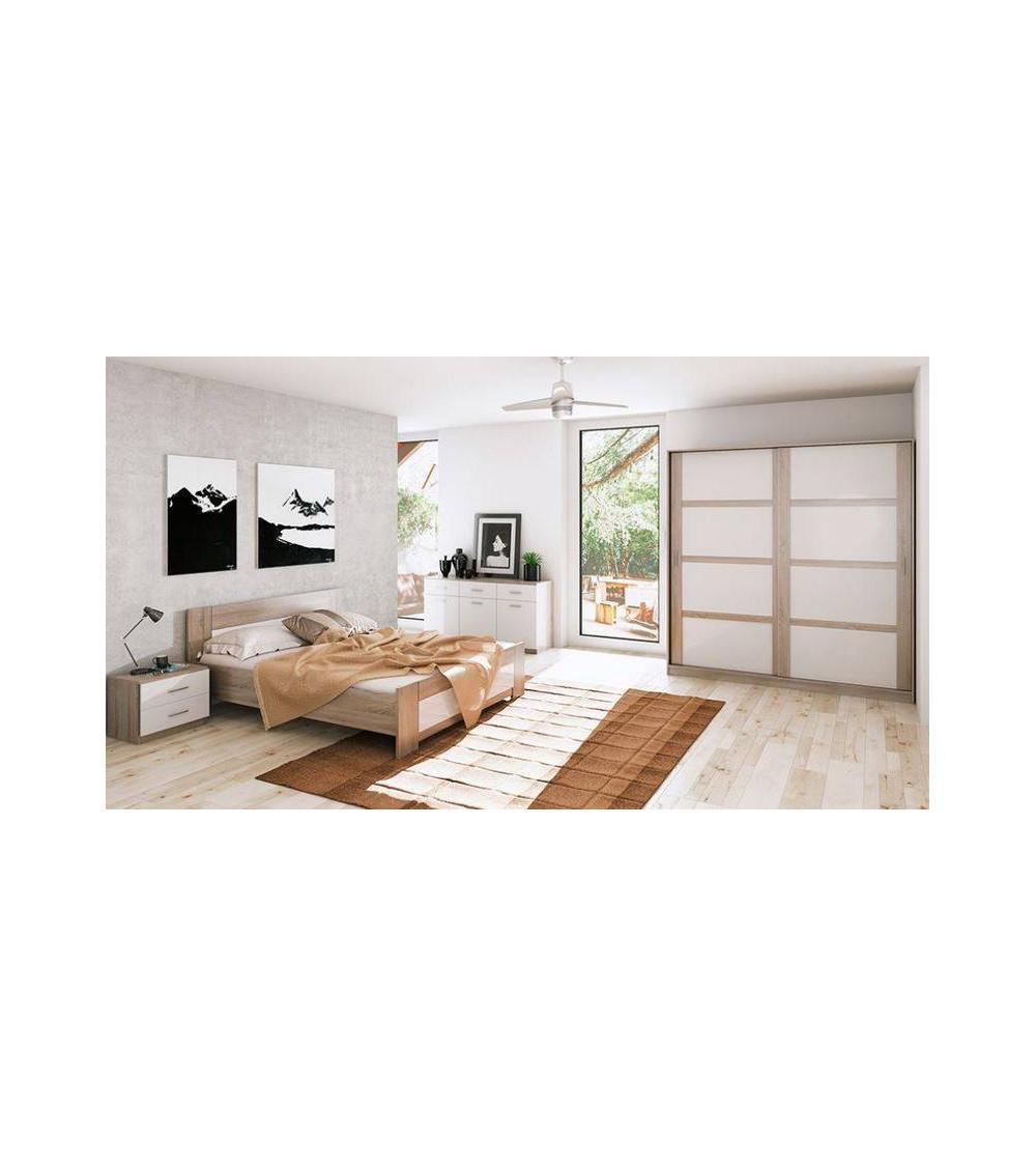 Chambre complète LIVA chêne clair 160*200 cm