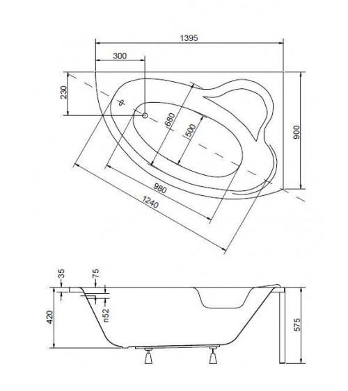 Baignoire d'angle ORIEGO MAXI 140x90 cm gauche ou droite avec tablier