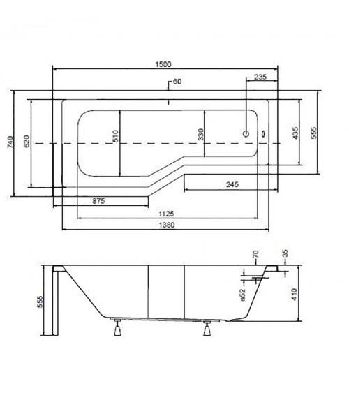 Baignoire asymétrique INTEGRA 150/170 cm x 75 cm avec pare baignoire