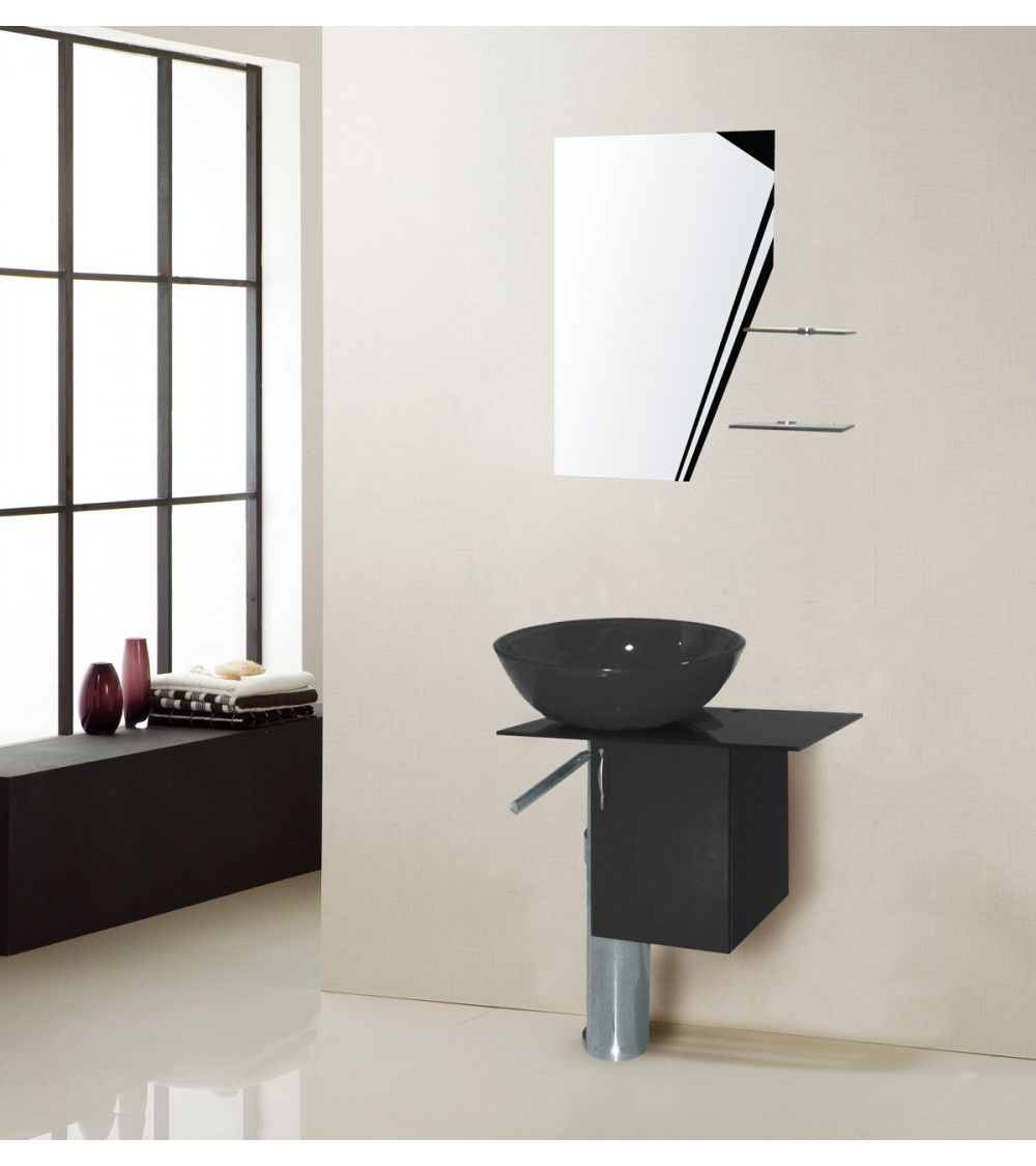 Ensemble de salle de bain manresa noir meuble salle de bain une vasque d - Meuble salle de bain vasque noire ...