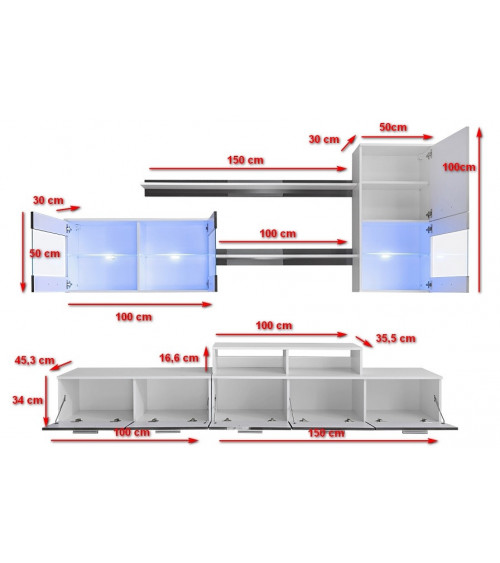 Ensemble meuble TV AJACCIO blanc/noir 250cm