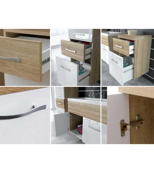 Meuble salle de bain Wilhem Blanc et chêne