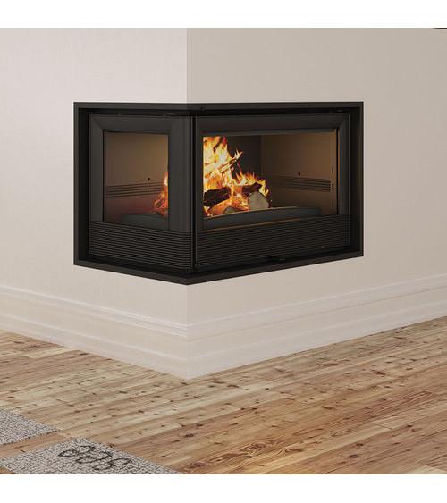 Insert cheminée à bois Holguin avec turbine 11,5 kW 2 vitres gauche
