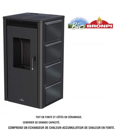 Poêle à pellet 13 kW céramique noir, nettoyage automatique CARMEN