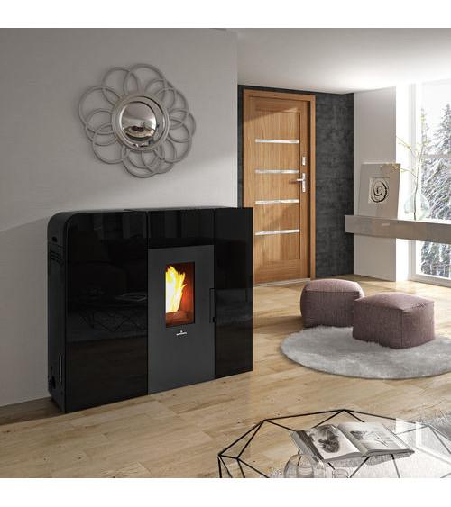 Thermo-poêle à pellets slim VERNON 18 kW verre noir