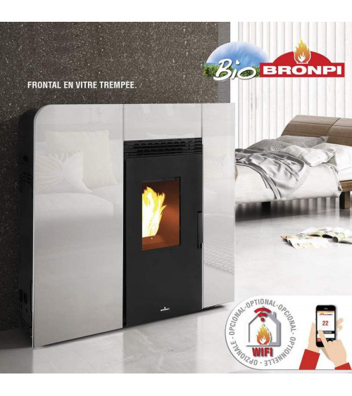 Thermo-poêle à pellets slim VERNON 18 kW verre blanc