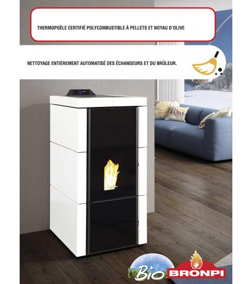 Thermo-poêle poly combustible QUESNEL - pellets et noyau d'olive - 21 kW blanc