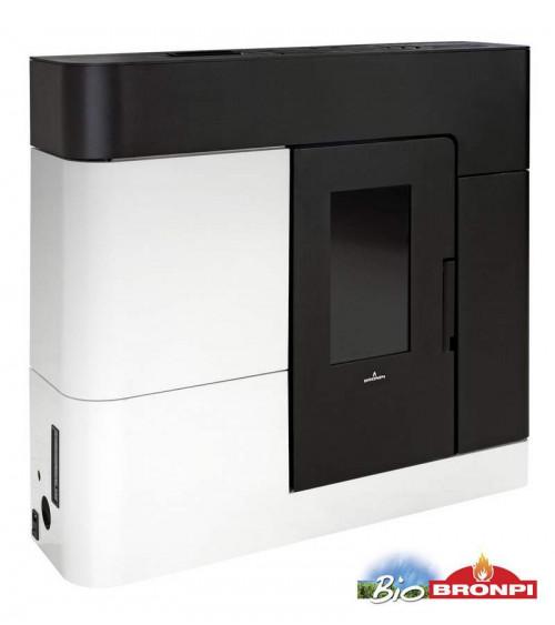 Thermo-poêle à pellets AREGUA slim 18 kW noir et blanc