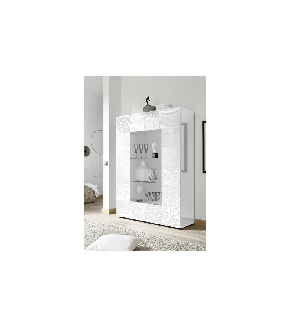 Vitrine 2 portes vitrées MIREL blanc