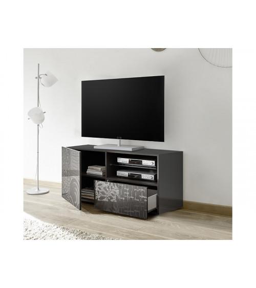 Meuble TV MIREL noir 1 porte, 1 tiroir