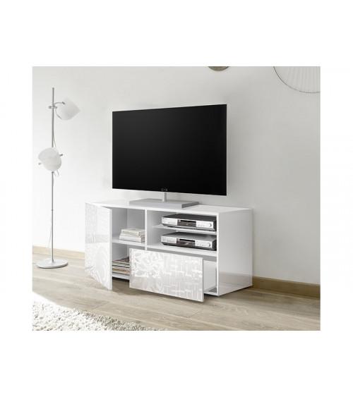 Meuble TV MIREL Blanc 1 porte, 1 tiroir
