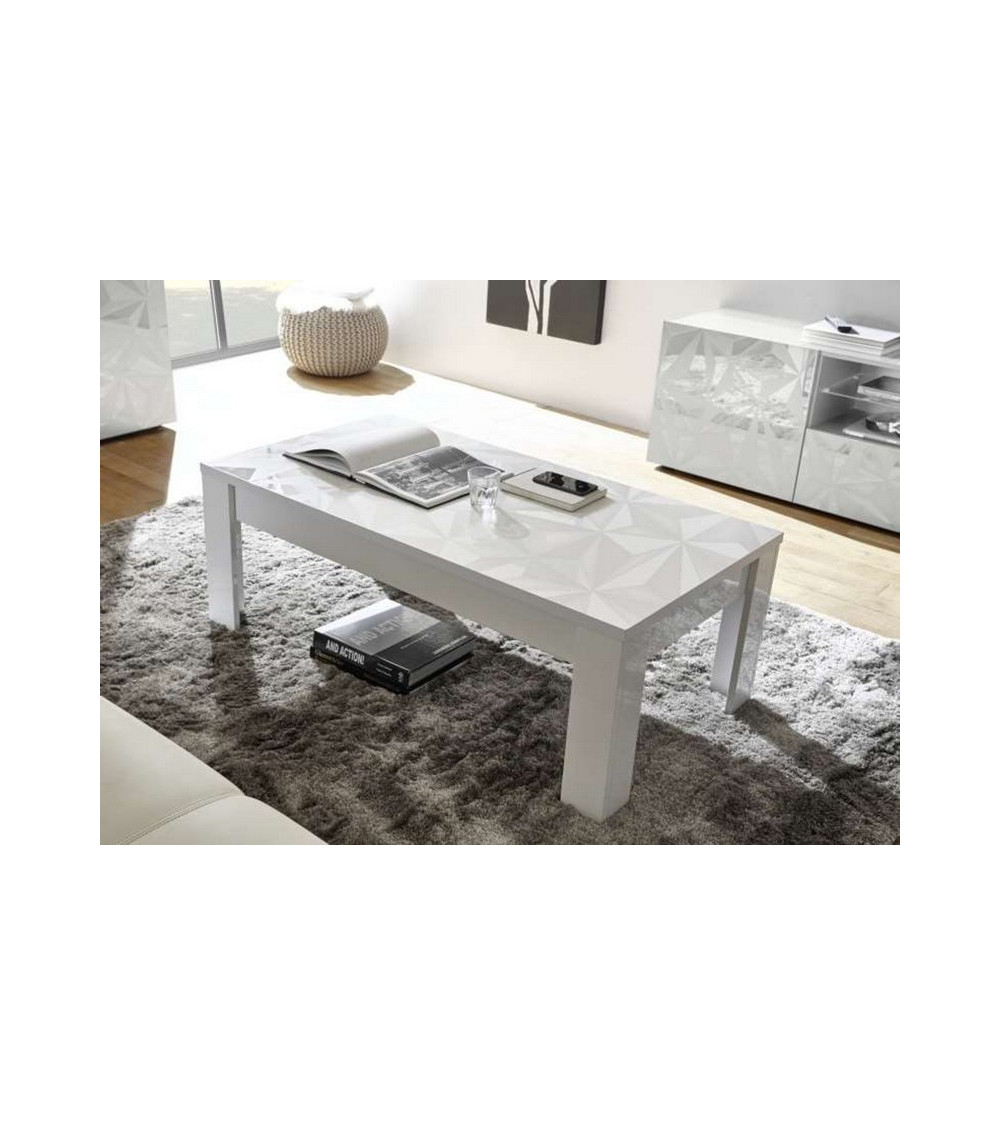 Table basse LUTHER 122x45x65 cm Blanc