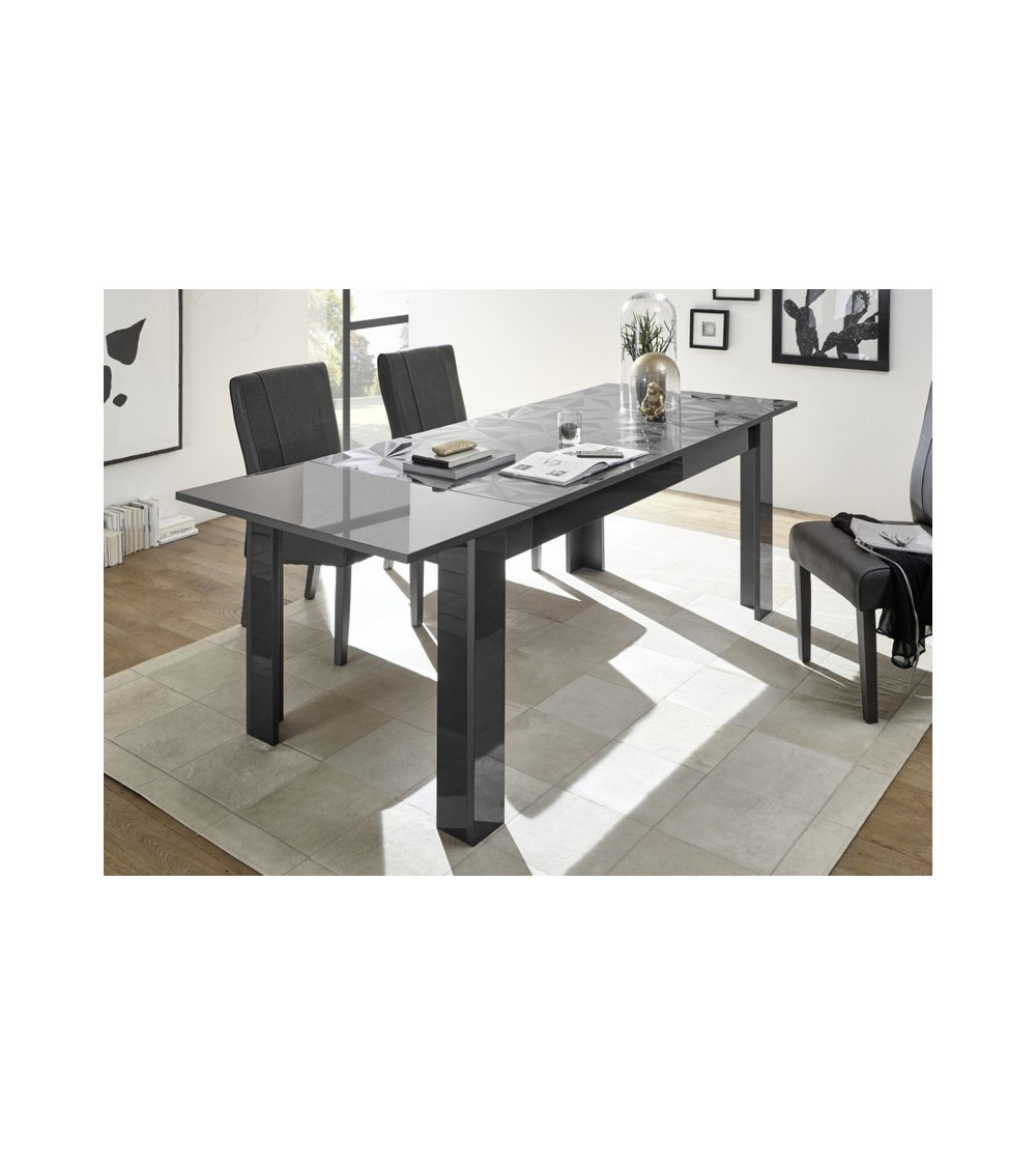 Table à manger extensible LUTHER anthracite 137-185x79x90 cm