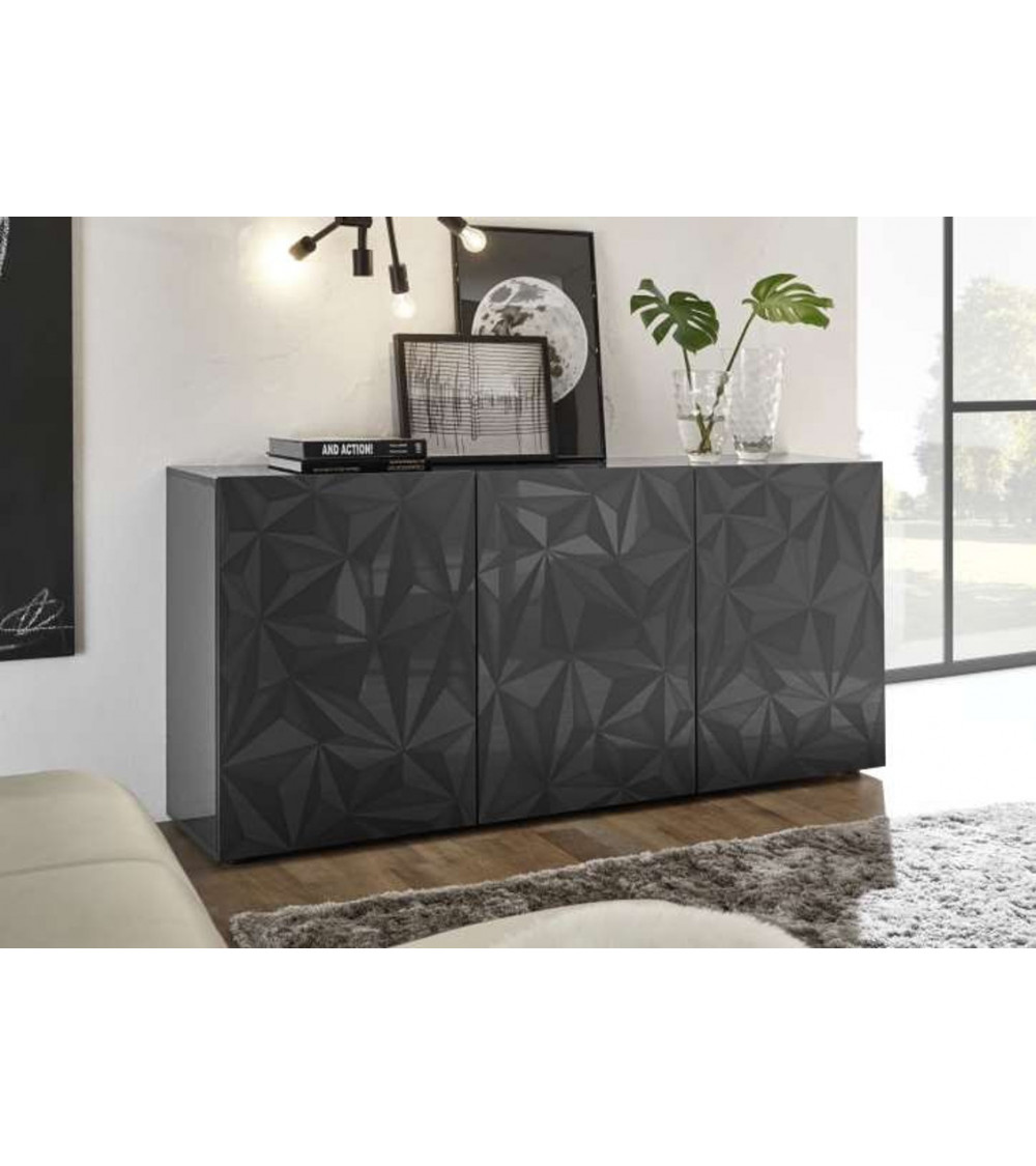 Buffet LUTHER Anthracite 3 portes 181x84x42 cm