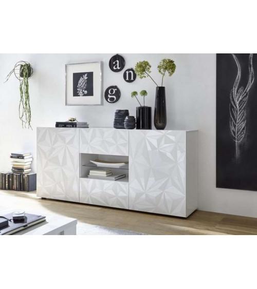 Buffet LUTHER en blanc 2 portes 2 tiroirs 181x84x42 cm