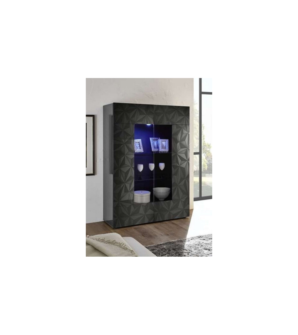 Vitrine 2 portes LUTHER anthracite 121x166 cm