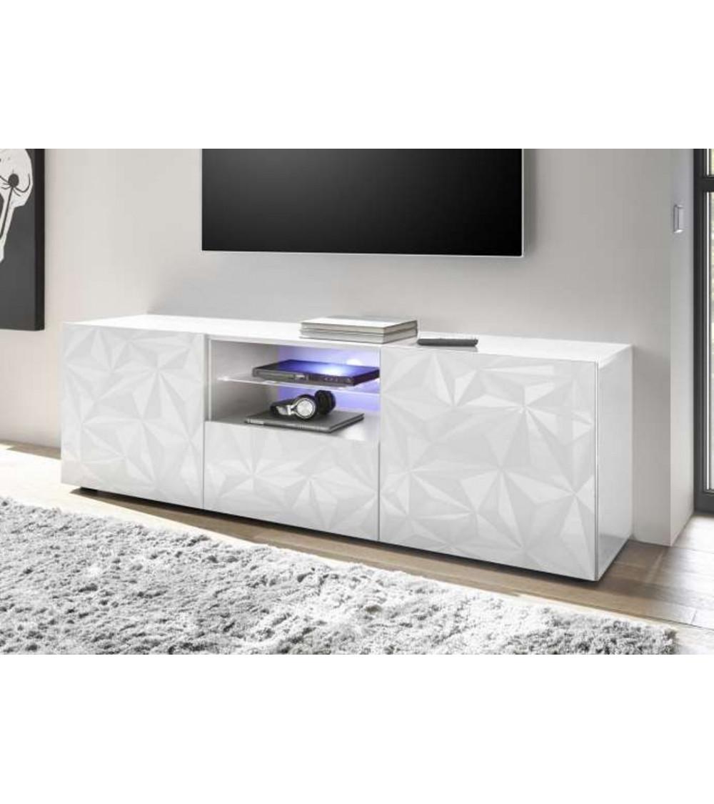 Meuble Tv LUTHER 2 portes 1 tiroir blanc 181x57 cm
